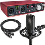 Audio Technica AT4040 Microphone with Focusrite Scarlett 2i4 USB Recording Interface and Cable