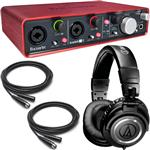Focusrite Scarlett 2i4 USB Recording Interface with Audio-Technica ATH-M50 Headphones and Cables