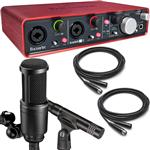 Focusrite Scarlett 2i4 USB Recording Interface with Audio Technica AT2041SP Microphone Pack and Cables