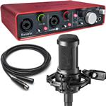 Audio Technica AT2050 Recording Microphone with Focusrite Scarlett 2i4 USB Interface & Cable