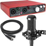Focusrite Scarlett 6i6 USB Recording Interface with Audio-Technica AT2050 Studio Microphone and Cable