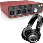 Focusrite Scarlett 18i8 USB Recording Interface with Audio-Technica ATH-M50s Studio Headphones