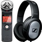 Zoom H1 Handy Portable Recorder with Sennheiser HD201 Headphones