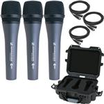 3x Sennheiser e835 Vocal Microphones with Gator Waterproof Mic Case and Cables