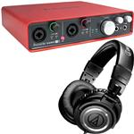 Focusrite Scarlett 6i6 USB Recording Interface with Audio-Technica ATH-M50 Studio Headphones