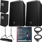 2x Electro-Voice ZLX-12P Powered Speakers with Allen & Heath ZED60-10FX Mixer, Covers, Stands and Cables