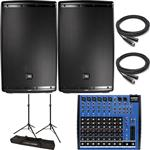 2x JBL EON615 Powered Loudspeaker PA System Bundle