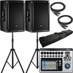 2x JBL SRX812P Powered Speakers with QSC Touchmix 8 Digital Mixer and Accessories
