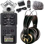 Zoom H6 Portable Recorder with Accessories and AKG K240 Studio Headphones
