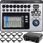 QSC Touchmix 8 Digital Mixer with Gator Waterproof Case and Cables