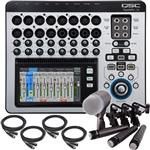 QSC TouchMix 16 Digital Mixing Console with 3x Shure SM57 and Beta 52 Drum Microphone Pack with Cables