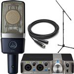 AKG C214 Studio Condenser Microphone & Zoom UAC-2 USB 3.0 Recording Interface Bundle