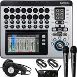 QSC TouchMix 16 Digital Mixing Console with AKG WMS40 Mini Dual Vocal Wireless Microphone System and K72 Headphones