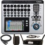 QSC TouchMix 16 Digital Mixer and Shure GLXD14/93 Lavalier Wireless Microphone System
