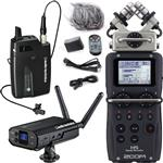 Audio-Technica ATW-1701/L Camera Mount Wireless Lapel Microphone System with Zoom H5 Portable Recorder & Accessories