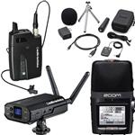 Audio-Technica ATW-1701/L Camera Mount Wireless Lapel Microphone System with Zoom H2n Portable Recorder & Accessories