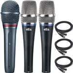 Audio Technica AE6100 Vocal Microphone with 2x Heil Sound PR22-UT Microphones and Cables