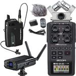 Audio-Technica ATW-1701/L Camera Mount Wireless Lapel Microphone System with Zoom H6 Portable Recorder & Accessories