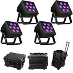 4x Blizzard SkyBox W-DMX Battery-Powered RGBAW+UV 6-in-1 LED Fixture with  Waterproof Case