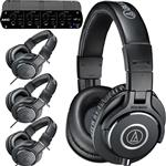 Audio-Technica ATH-PACK4 Studio Headphones 4-Pack with AKG HP4E Headphone Amplifier