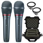 2x Audio-Technica AE6100 Dynamic Hypercardioid Microphones with Cables and Waterproof Case