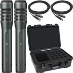 2x Audio-Technica AE5100 Condenser Microphones with Cables and Waterproof Mic Case