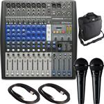 Presonus StudioLive AR12 USB Hybrid Mixer with 2x Shure PGA58 Vocal Microphones and Carrying Case