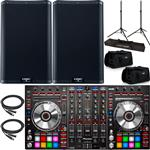 2x QSC K8.2 Powered Speakers with a Pioneer DDJ-SX2 Serato DJ Controller & Accessories