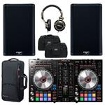 2x QSC K8.2 2000W Loud Speakers with Pioneer DDJ-SR2, Shure SRH550DJ and Totes