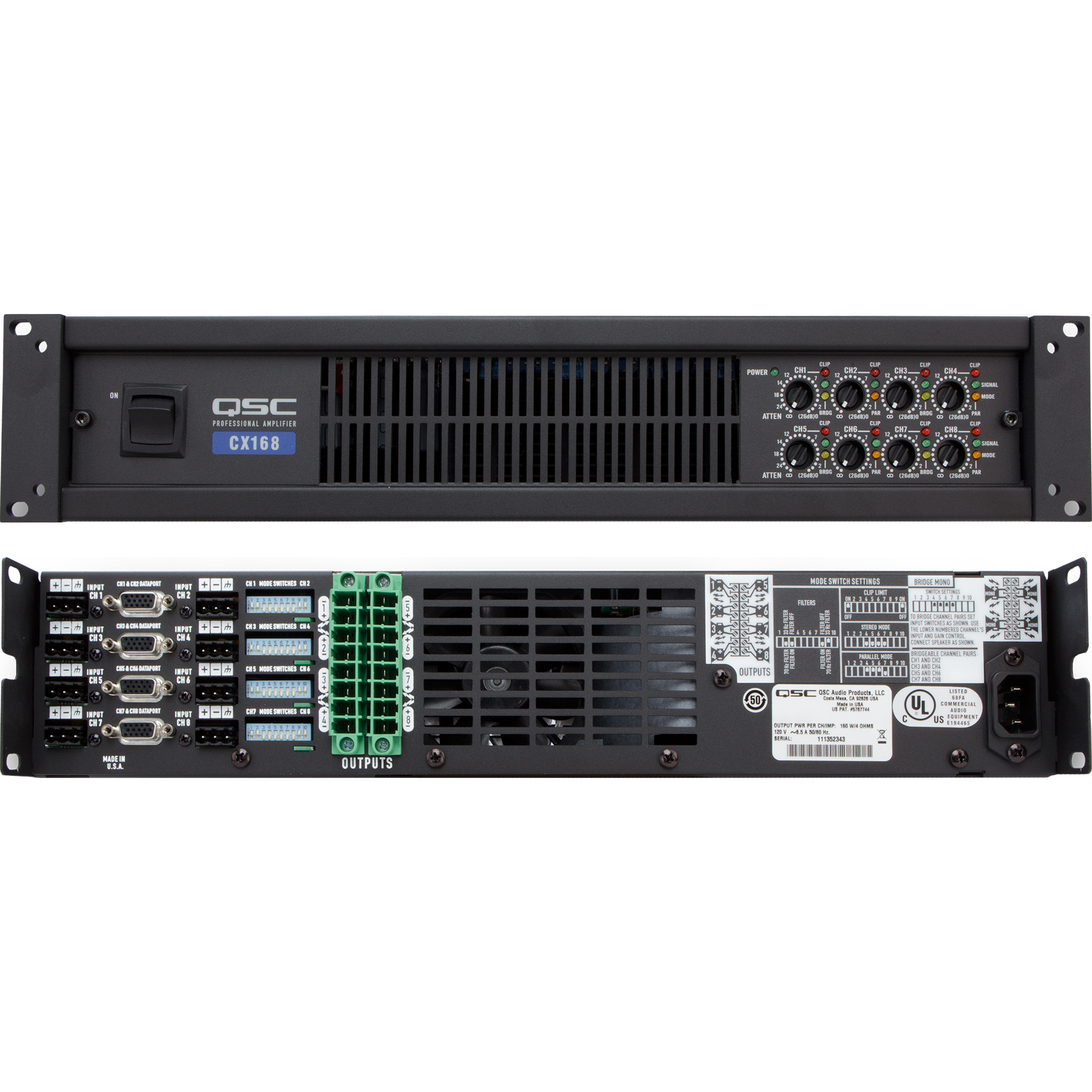 Welcome To Fplogistics 140w Power Amplifier Qsc Cx168 Eight Channel Lo Z